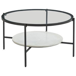 Black Metal Round Cocktail Table with Glass Top and White Marble Shelf