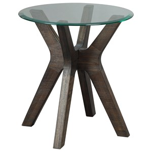 Mid-Century Modern Round End Table with Glass Top and Solid Wood Base