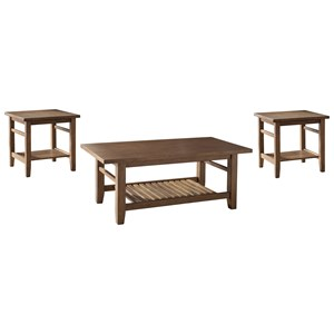 3-Piece Occasional Table Set with Slat Shelves