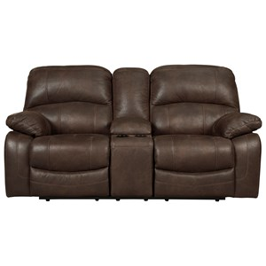 Glider Reclining Loveseat w/ Console in Faux Brown Leather