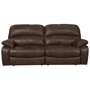 2 Seat Reclining Sofa in Brown Faux Leather