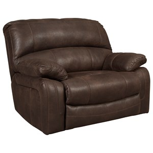 Wide Seat Power Recliner in Brown Faux Leather