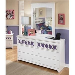 6-Drawer Dresser with Customizable Color Panels & Mirror