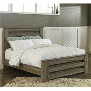 Queen Poster Bed in Warm Gray Rustic Finish