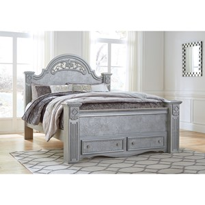 Glam King Poster Bed with Storage Footboard