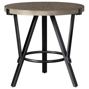 Industrial Round End Table with Steel Frame and White Oak Veneer Top