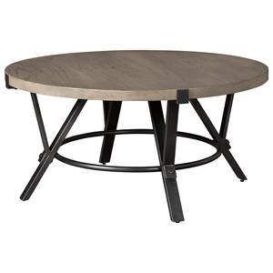 Industrial Round Cocktail Table with Steel Frame and White Oak Veneer Top