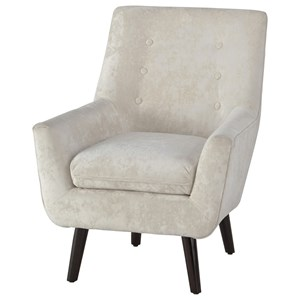 Mid-Century Modern Accent Chair in Ivory Crushed Velvet