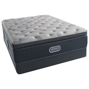 "Queen 15.5"" Luxury Firm Summit Pillow Top Pocketed Coil Mattress and Triton Foundation"