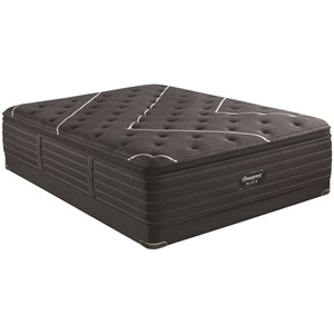 "King 17 1/2"" Firm Pillow Top Coil on Coil Premium Mattress and 5"" Low Profile Foundation"