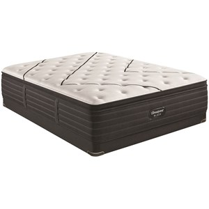 "Queen 15 3/4"" Plush Pillow Top Premium Mattress and BR Black 5"" Low Profile Foundation"