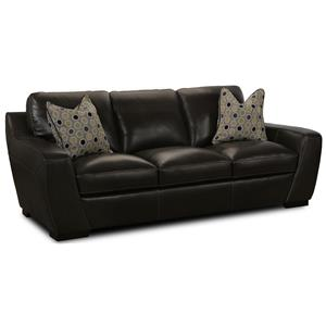 Stationary Leather Match Sofa With Fabric Accent Pillows
