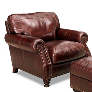 Rolled Arm Leather Chair With Nailhead Trim
