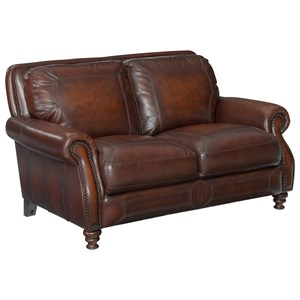 Traditional Leather Loveseat