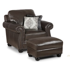 Traditional Chair with 2 Pillows & Ottoman