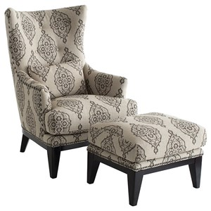 Transitional Wing Chair and Ottoman