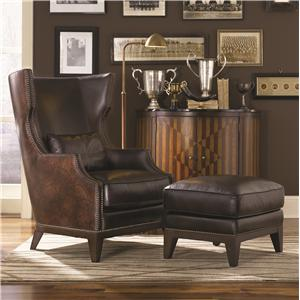 Traditional Top Grain Brown Leather Wing Back Chair & Ottoman Set with Nailhead Trim