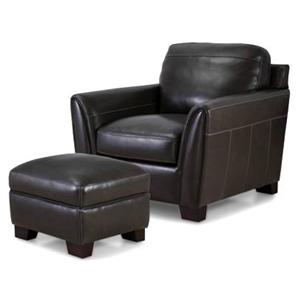 Contemporary Leather Arm Chair & Ottoman