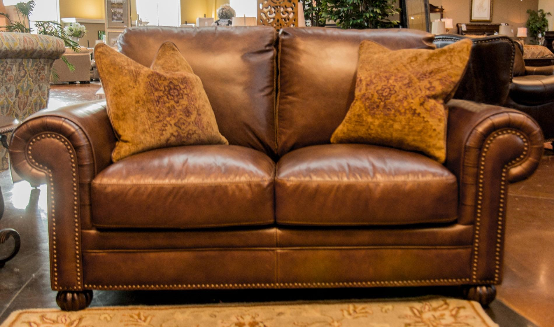 Tobacco Leather Loveseat with Noura-Fig Throw Pillows