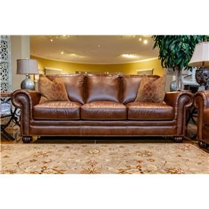 Tobacco Leather Sofa with Noura-Fig Throw Pillows