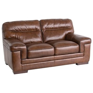 Casual Love Seat with Wrap-Around Pillow Arms