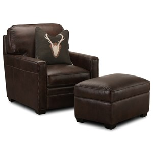 Leather Chair with Nailheads and Ottoman Set