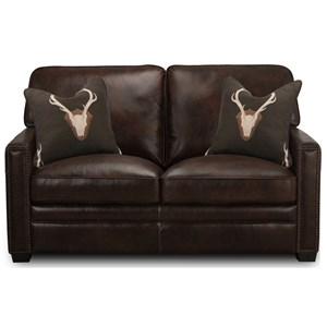 Leather Loveseat with Nailheads
