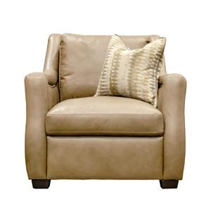 Leather Chair with Linen Pillow