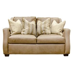 Leather Loveseat with Linen Pillows