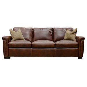 Leather Sofa with Irish Linen Tweed Pillows