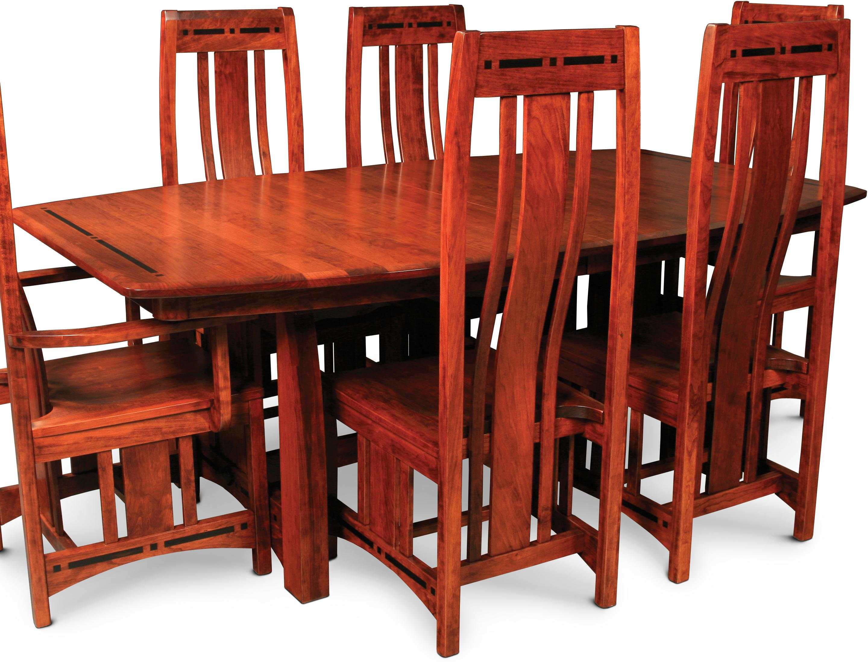 Aspen Trestle Table with Ebony Inlays by Simply Amish at Becker Furniture