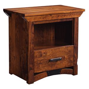 Nightstand with Opening and Bottom Drawer