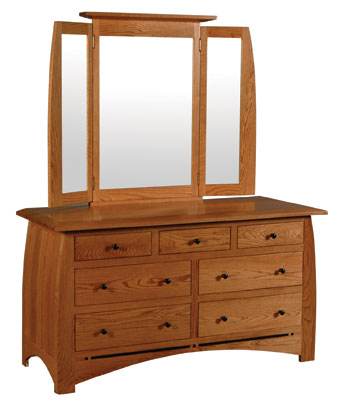 Aspen 7 Drawer Dresser and  Mirror by Simply Amish at Becker Furniture