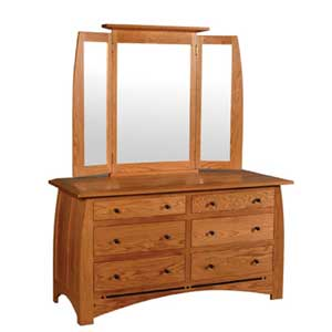 Simply Amish Aspen 6 Drawer Dresser and  Mirror