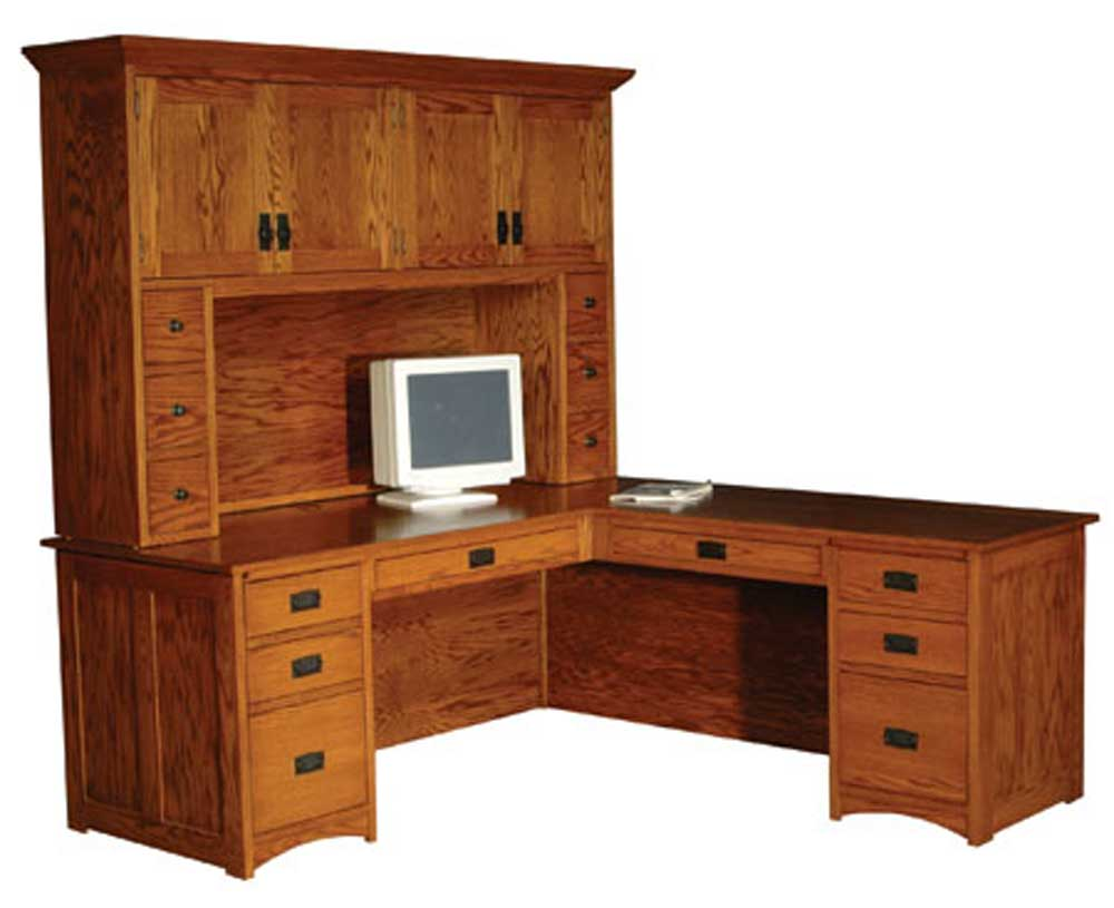 Prairie Mission L-Shape Desk and Hutch by Simply Amish at Mueller Furniture