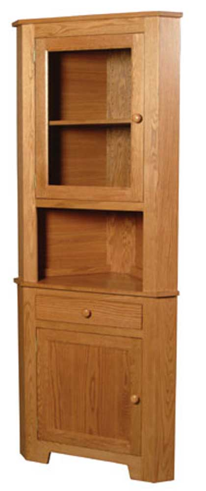 Shaker Amish 1-Door Open Corner Hutch by Simply Amish at Mueller Furniture