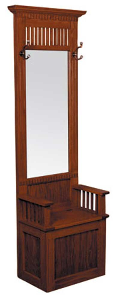 Mission Amish Hall Seat with Beveled Mirror by Simply Amish at Mueller Furniture