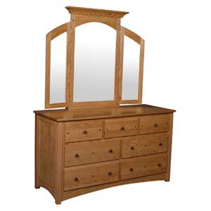 Simply Amish Royal Mission 7-Drawer Dresser and Mirror