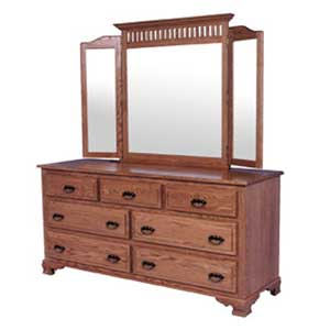 Classic 7 Drawer Dresser and Mission Tri-View Mirror