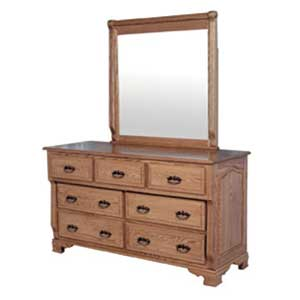 Simply Amish Heritage Amish 7-Drawer Dresser and Mirror