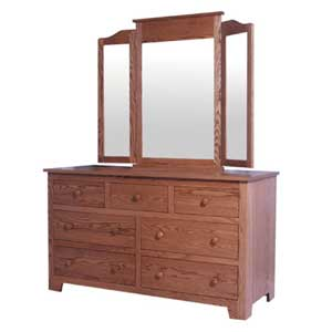 Simply Amish Shaker Amish 7-Drawer Dresser and Tri-View Mirror