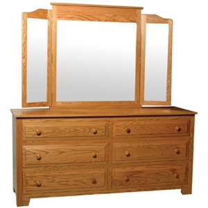 Simply Amish Homestead Amish 6-Drawer Dresser and  Mirror