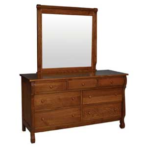 Simply Amish Empire 7 Drawer Dresser and Beveled Mirror