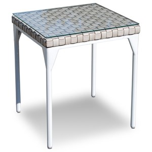 Outdoor Side Table with Glass Top