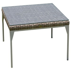 Square Outdoor Dining Table with Glass Top