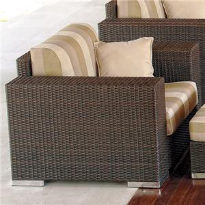 Outdoor Woven Synthetic Wicker with Aluminum Frame Streamlined Armchair with Upholstered Cushion Seat & Back