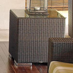 Square Synthentic Woven Wicker with an Aluminum Frame Outdoor Side Table with Glass Tabletop & Decorative Metal Feet