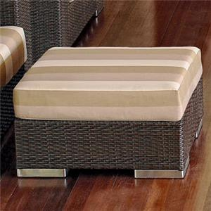 Synthetic Woven Wicker with an Aluminum Frame Outdoor Ottoman with Plush Cushion Top