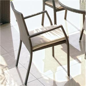 Synthetic Woven Wicker & Aluminum Outdoor Dining Armchair with Sunbrella Cushion Seat