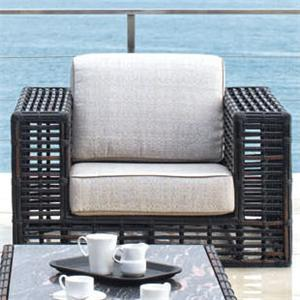Outdoor Synthetic Wicker & Aluminum Lounge Chair with Sunbrella Cushion Seat & Back